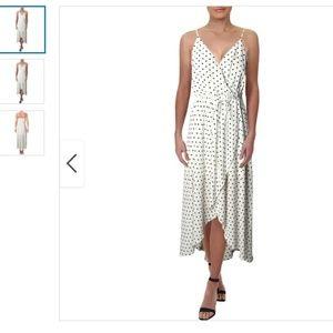 AQUA White Polka Dot Hi Low Wrap Dress